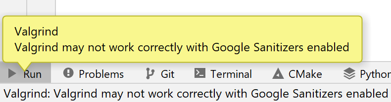 Warning about Valgrind with Google Sanitizers