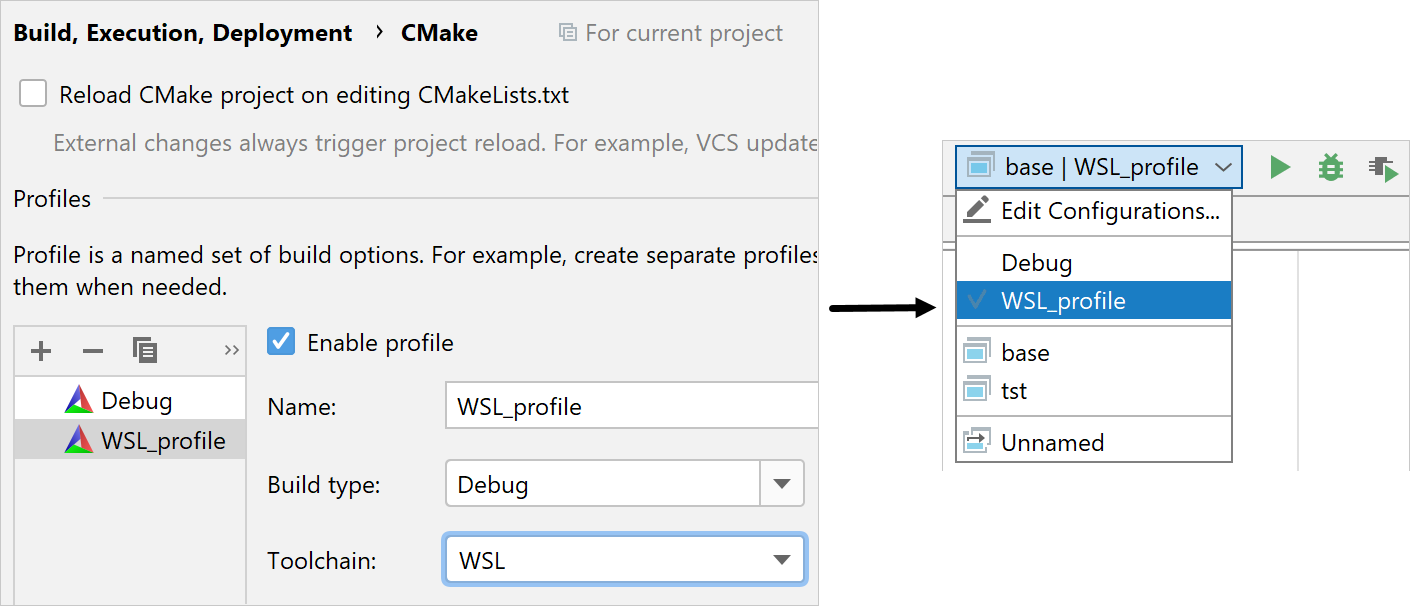 CMake profile for the WSL toolchain