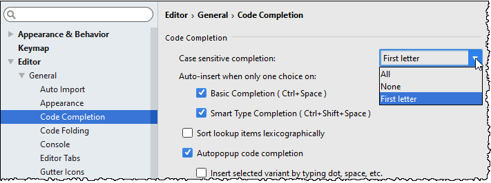 Code Completion page in Settings/Preferences dialog