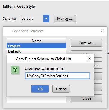 Copy code style scheme