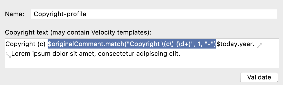 Copyright template in settings