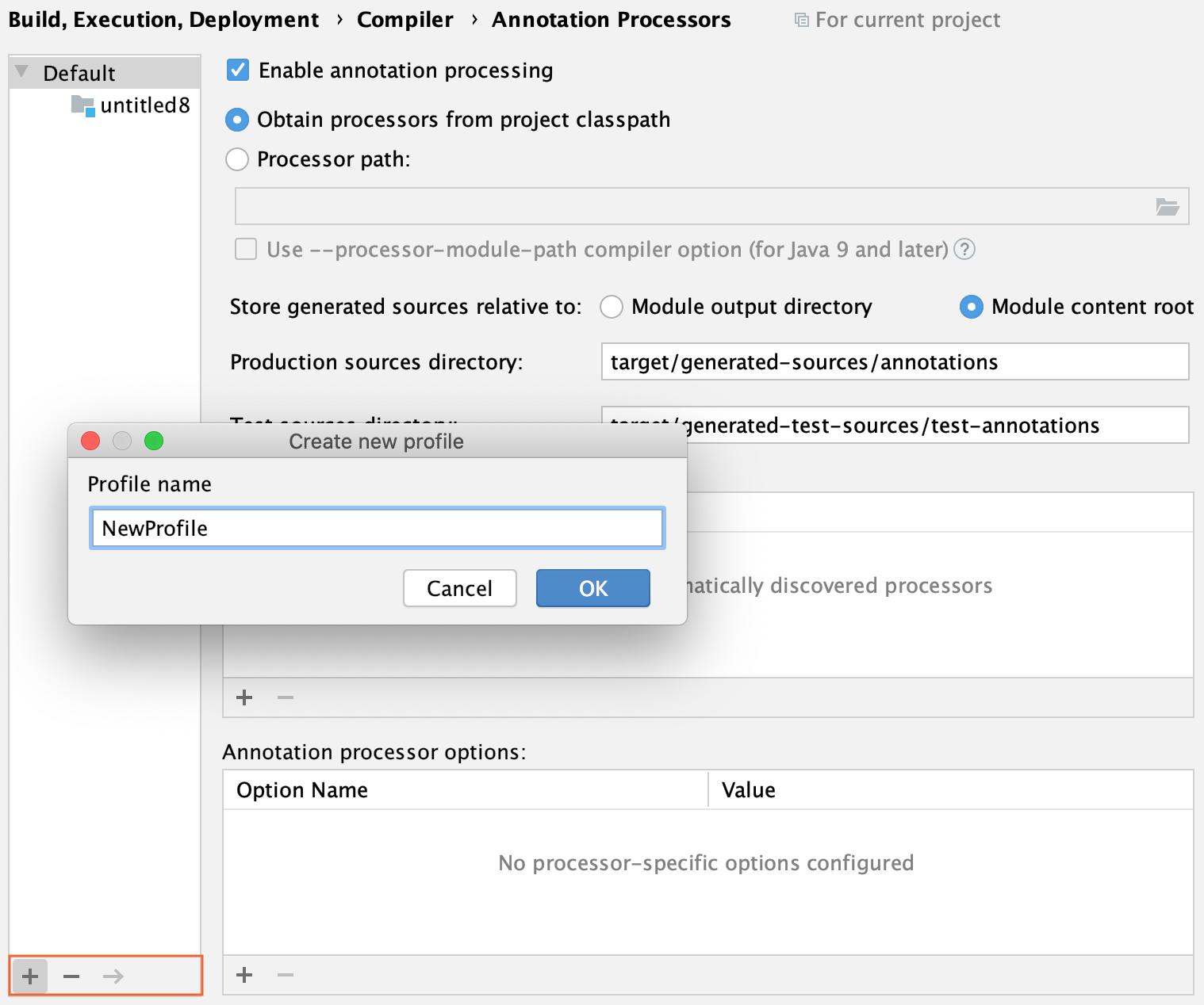 Create the annotation processor profile