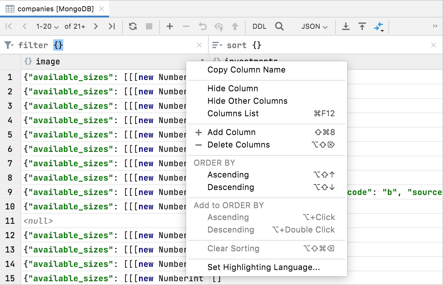 add and delete operations for columns
