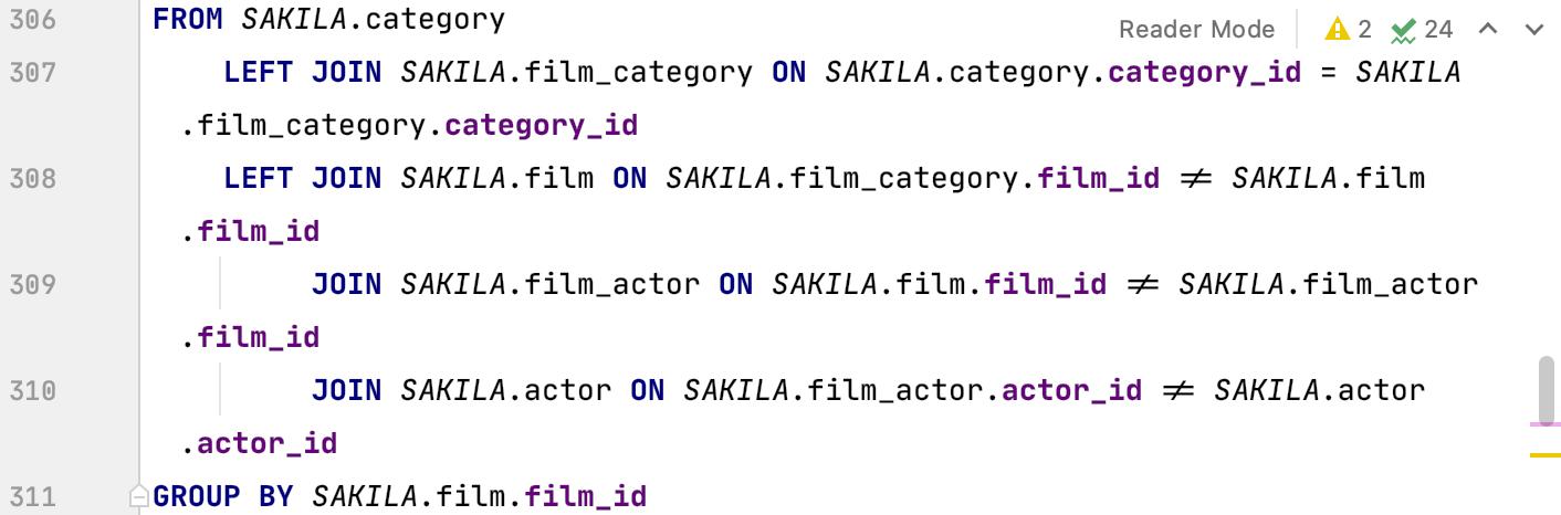 Font ligatures selected