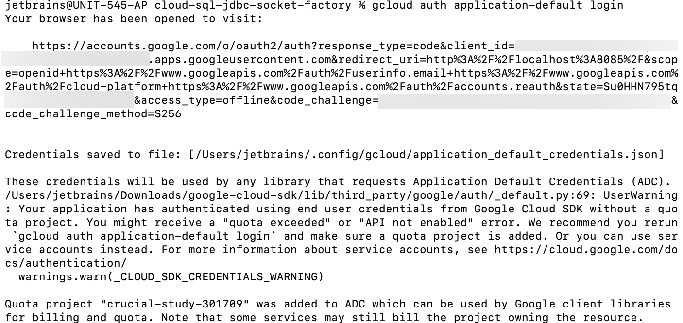Authenticate the connection to the Cloud SQL server
