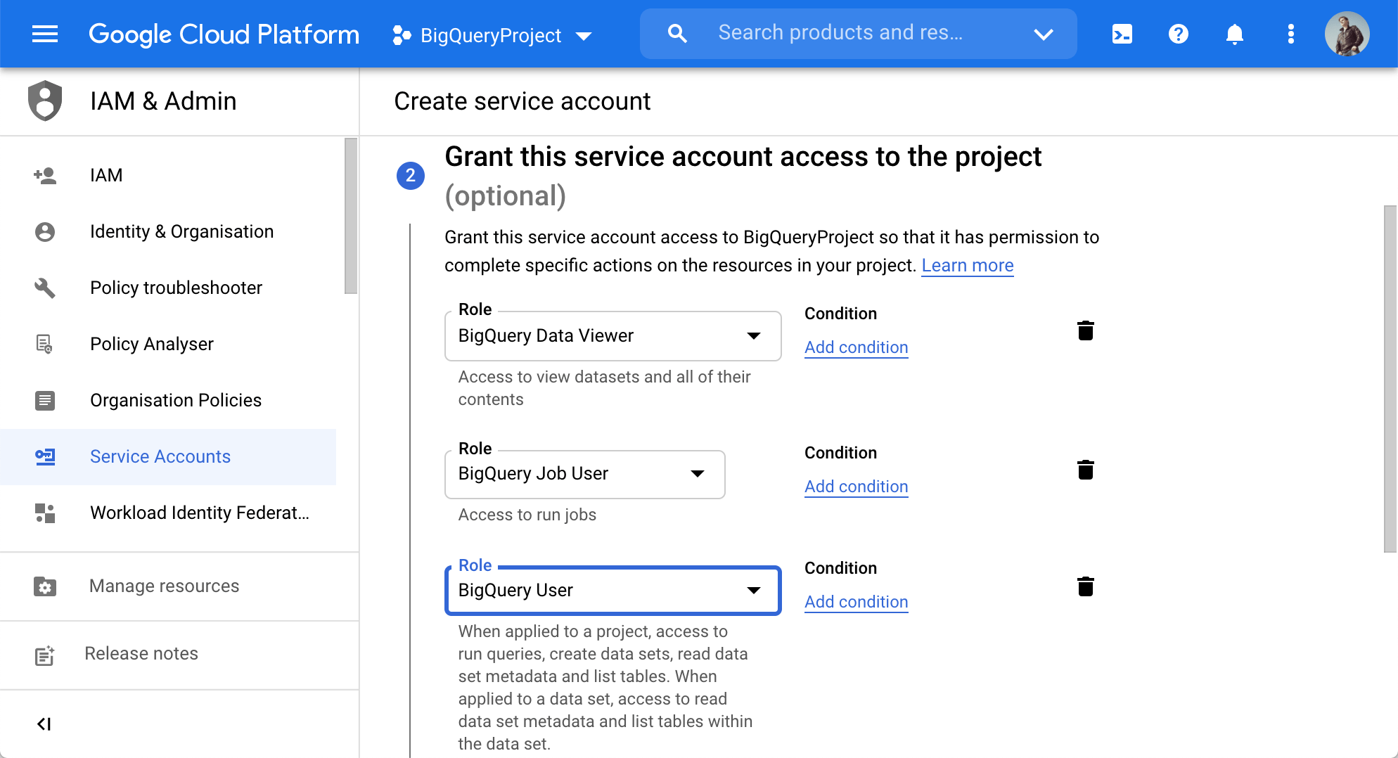 Grant this service account access to the project