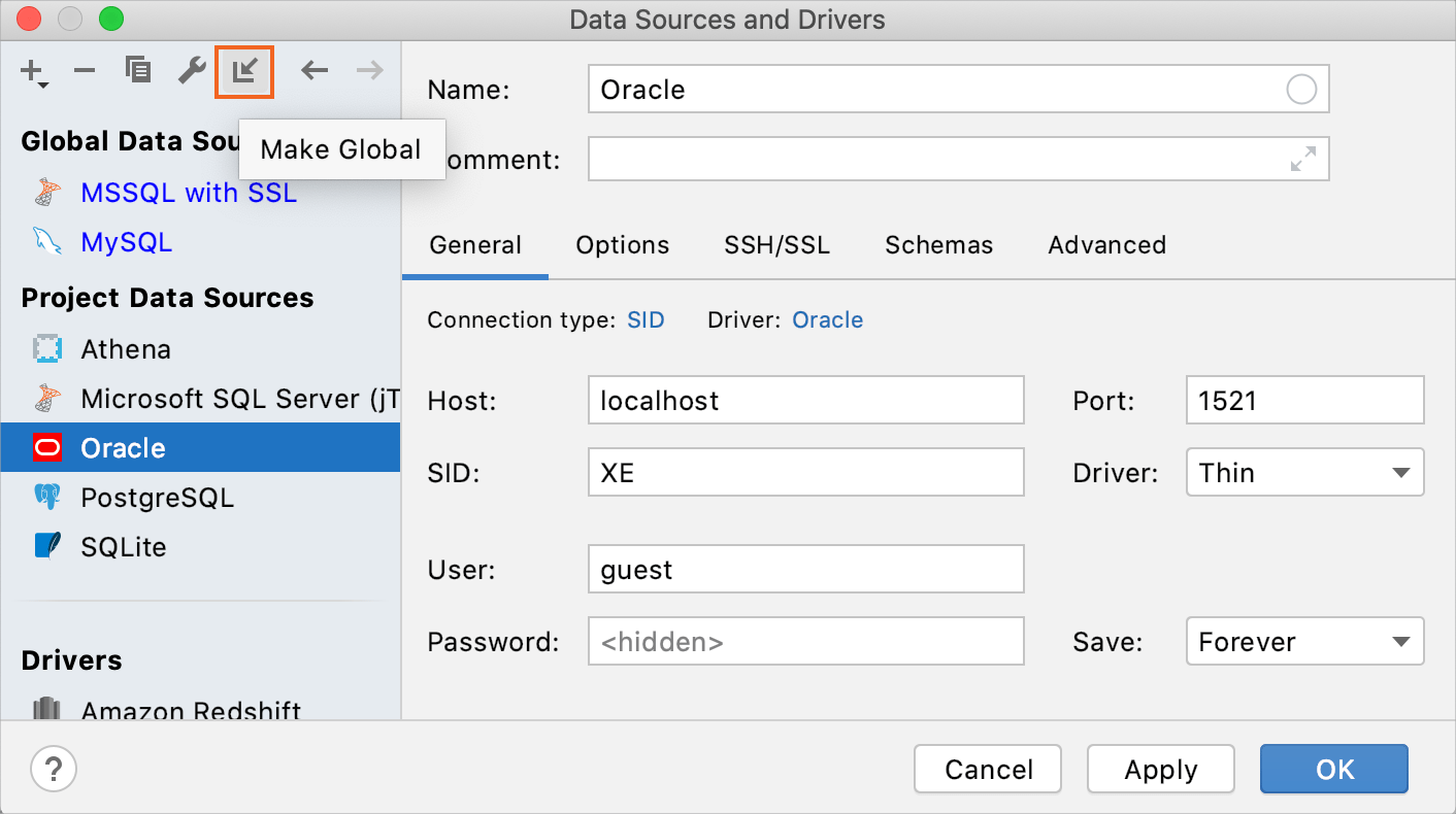 Share data sources between projects