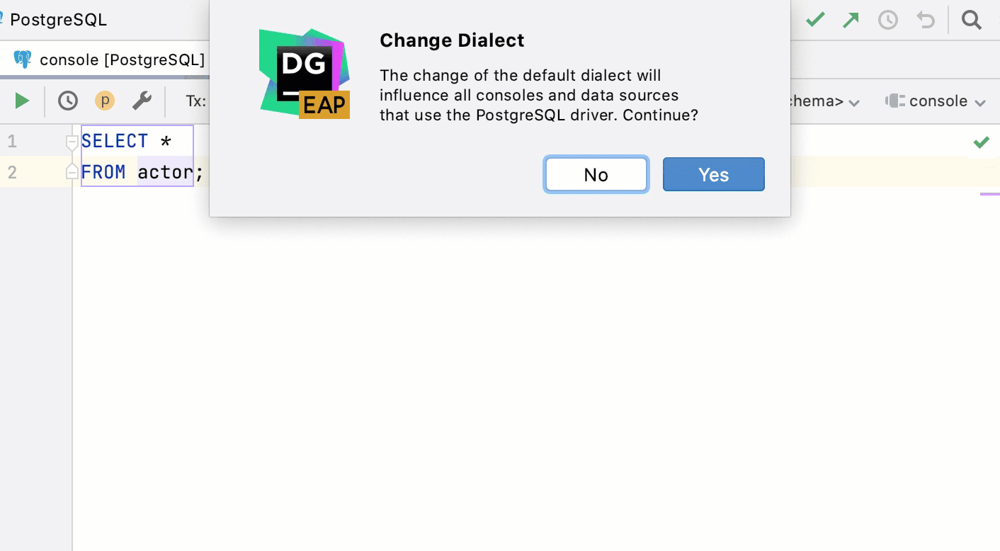 Change the SQL dialect in the editor