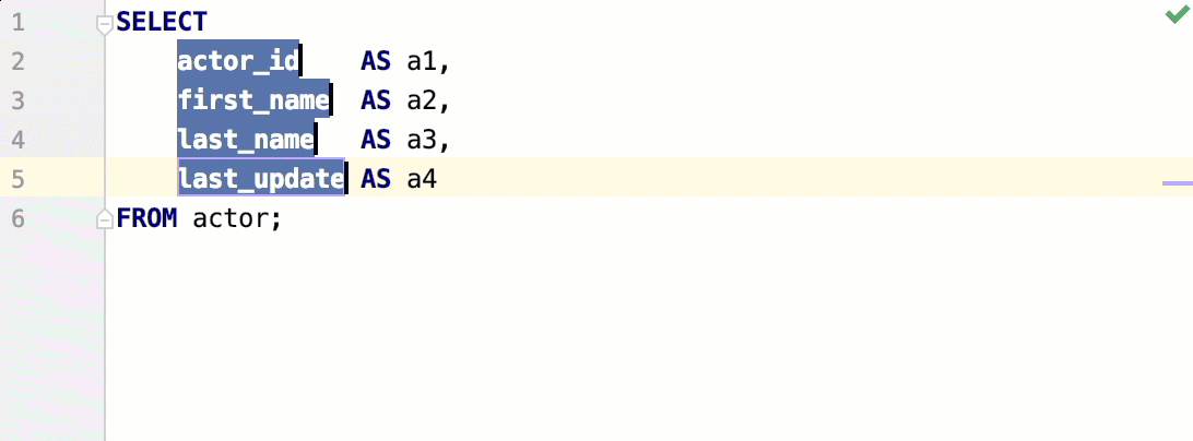 Add multiple carets using keyboard