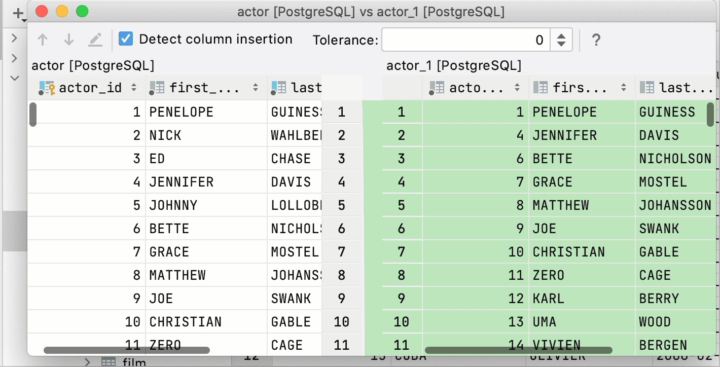 Compare two tables from the Database tool window