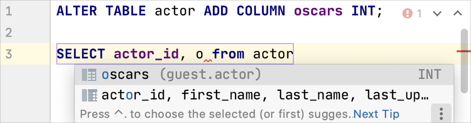 Example of the ALTER statement completion