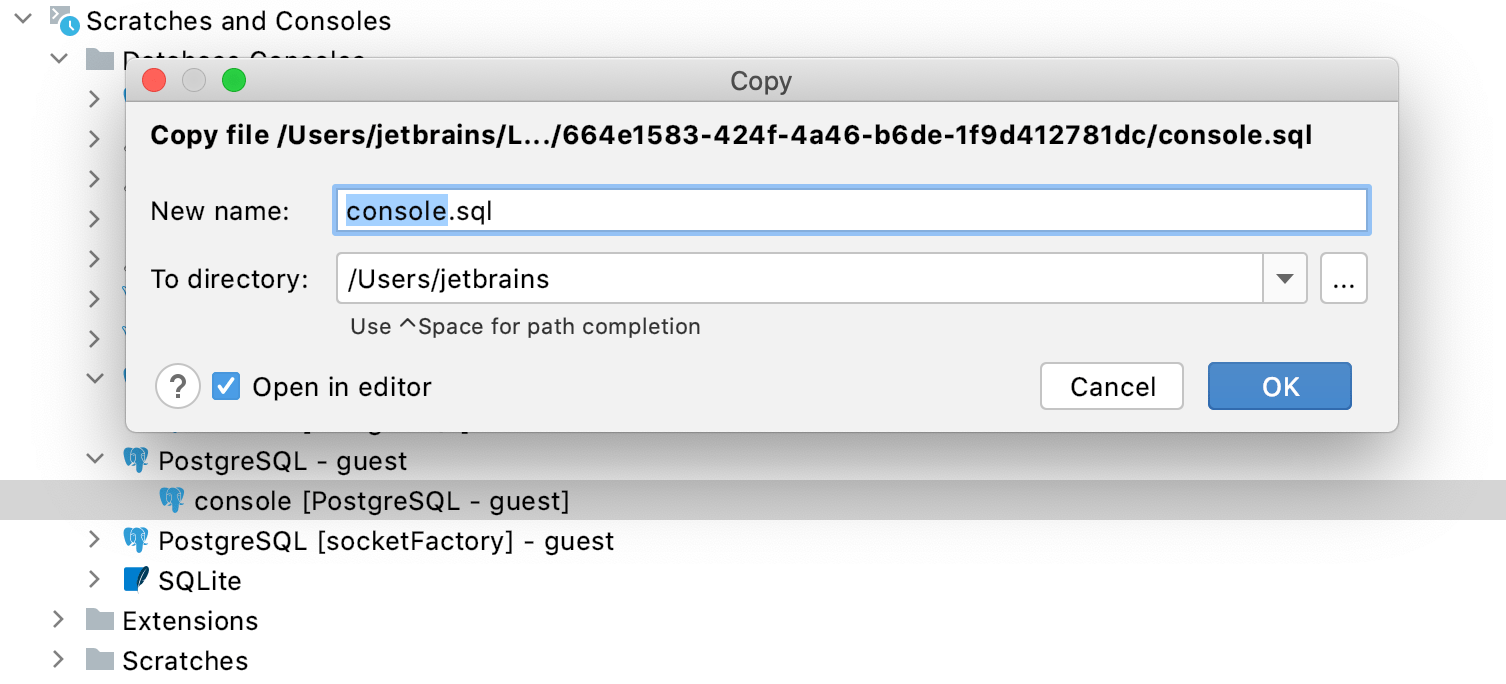 Copy a console file to a new location