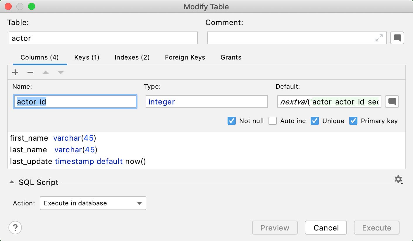 Create a primary key
