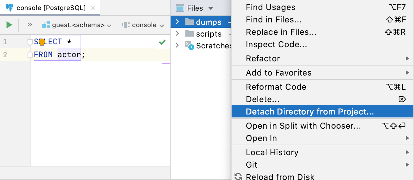 Detach a directory with SQL files