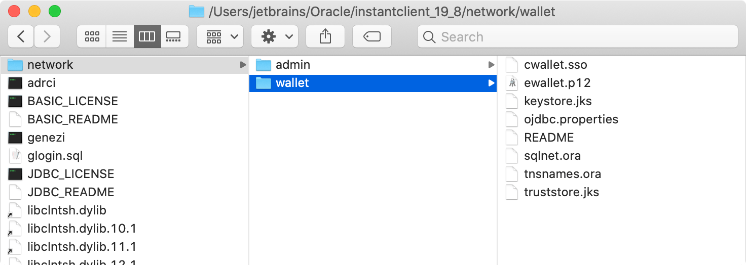path to wallet files