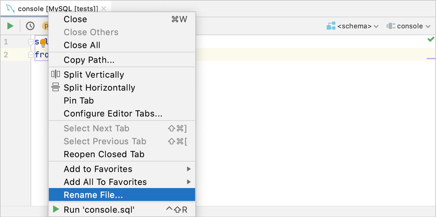 Rename a query console file