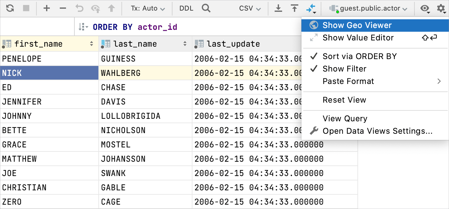 Restore the initial table view