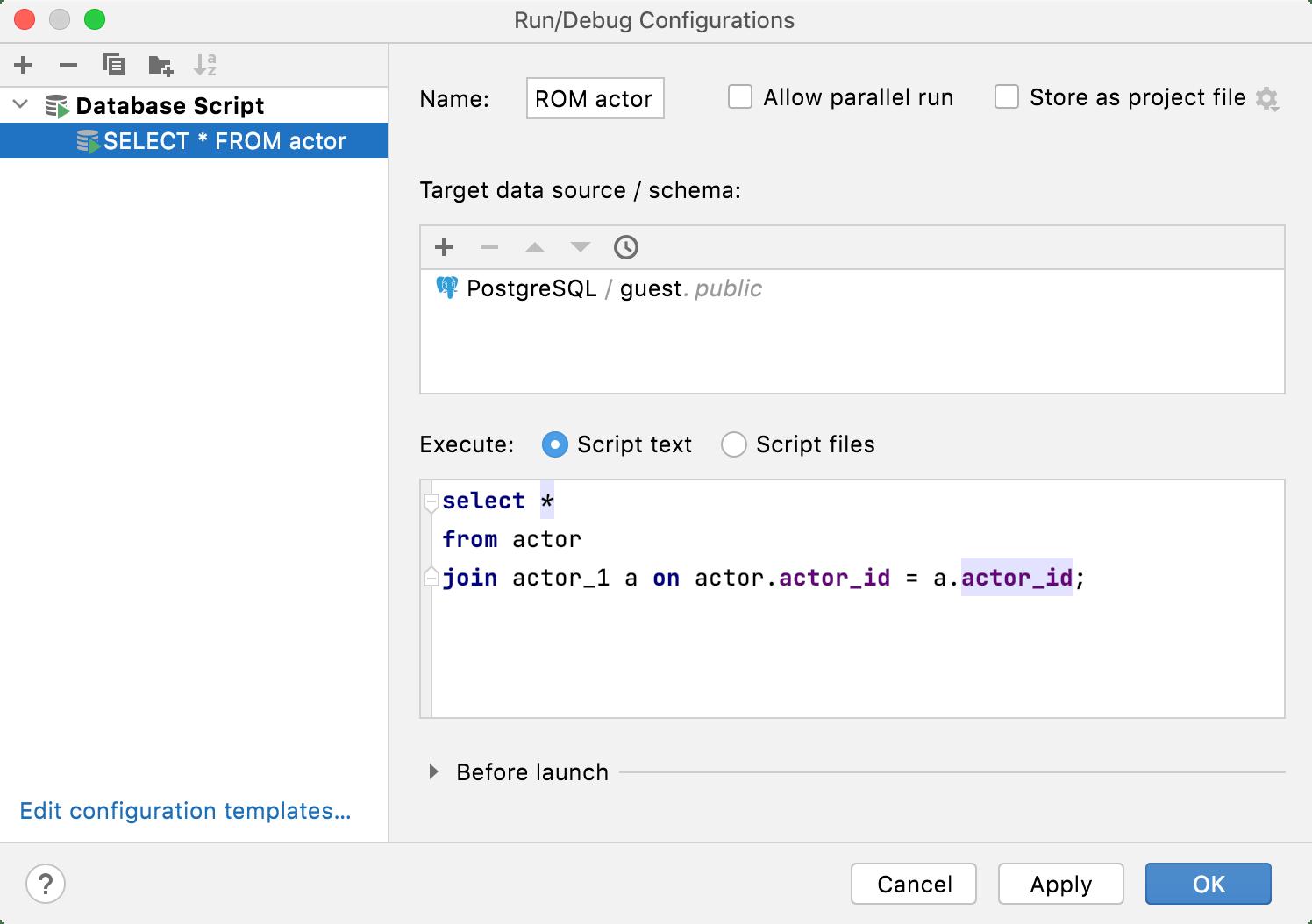 Run/Debug Configuration for database scripts