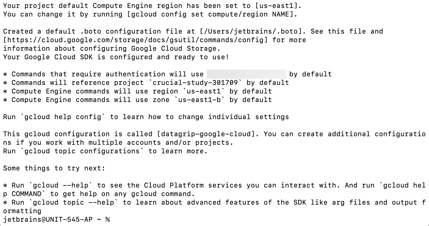 Run gcloud init to initialize the SDK: