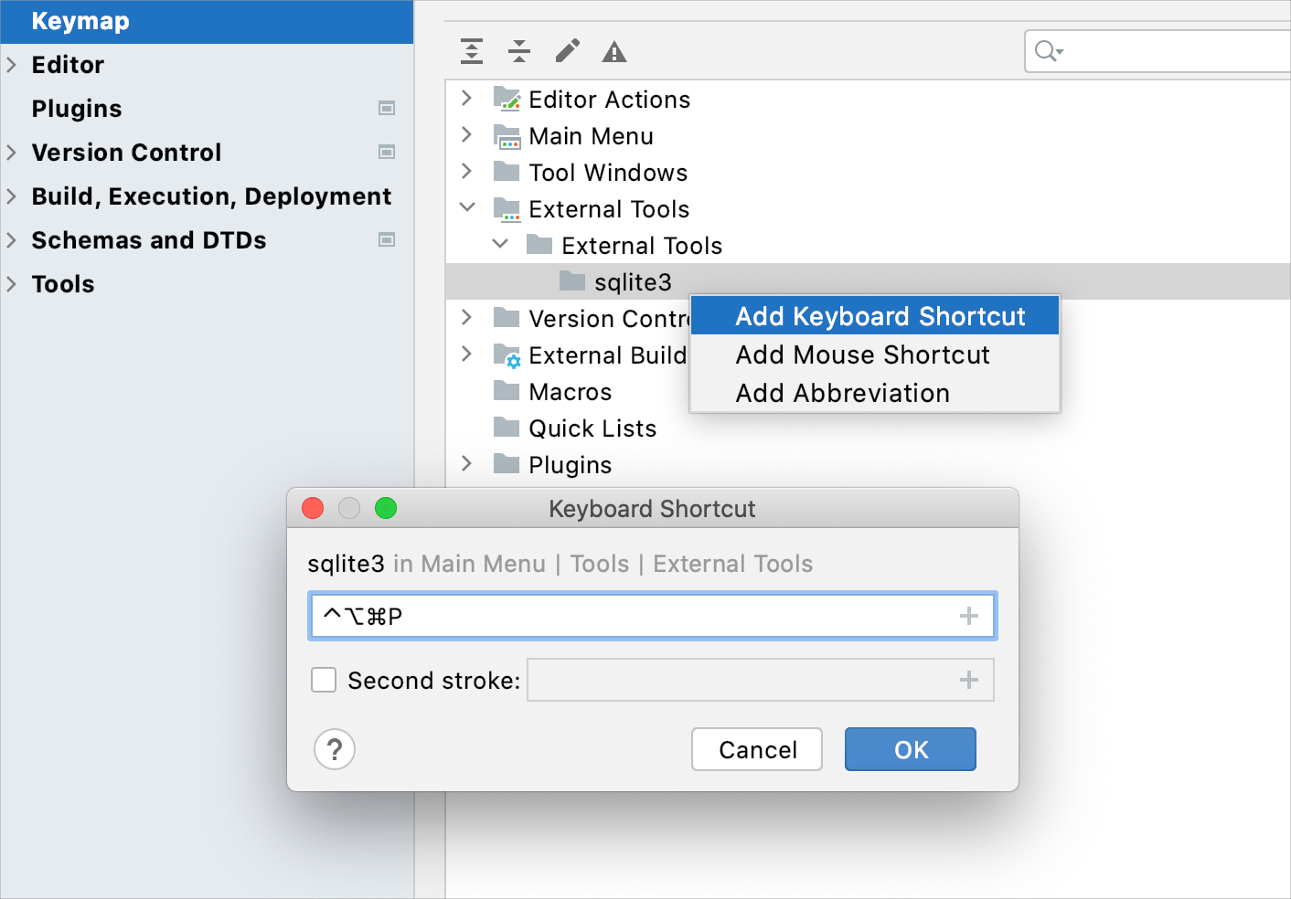 run sqlite3 by using a mapped shortcut