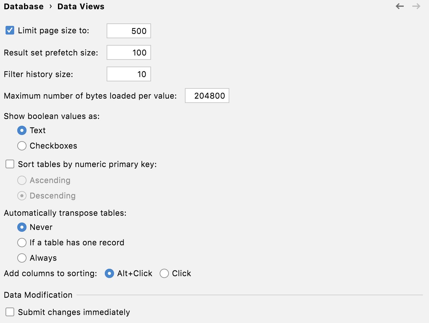The Data Views menu of the Database settings
