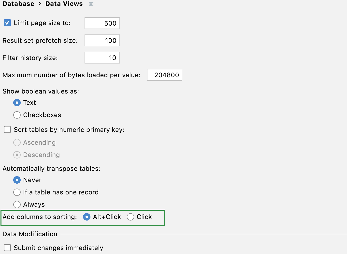 settings for stacked sorting
