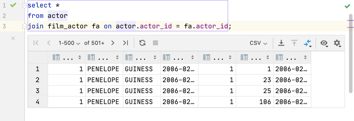 Show output results in editor