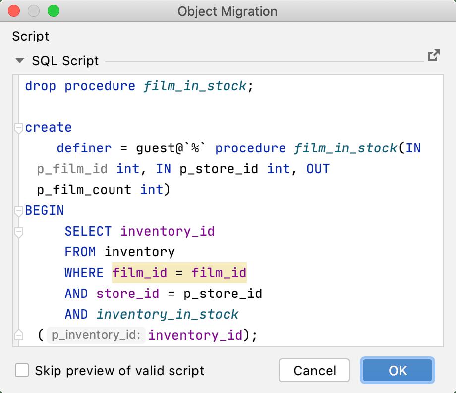 Skip database refactoring preview