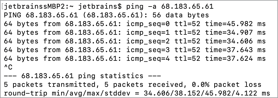 Test connection with the ping command