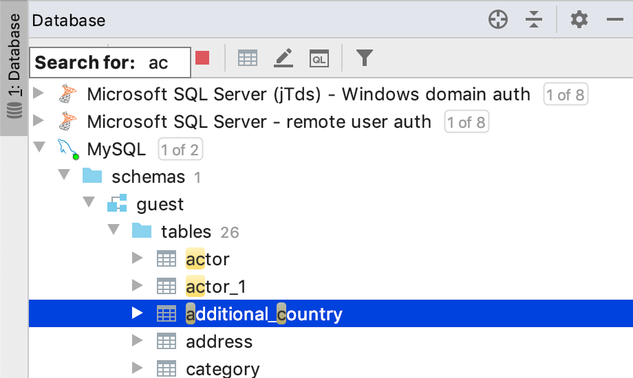 Speed search in a tool window