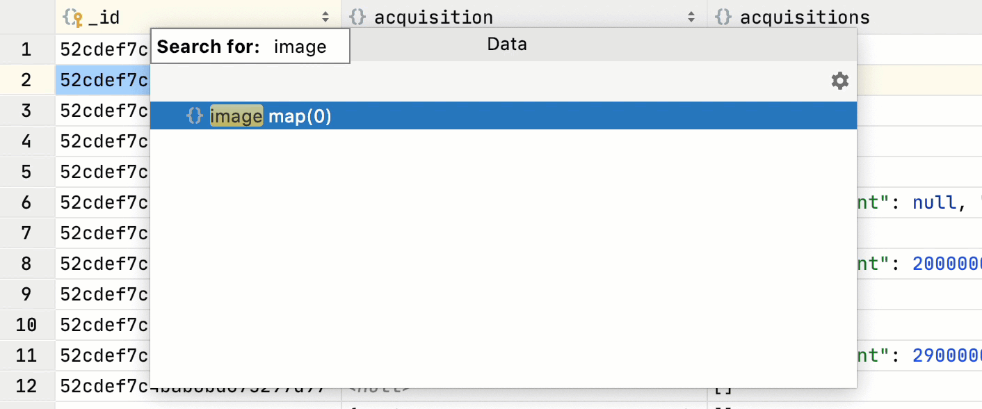 Search for columns in any result-set or table