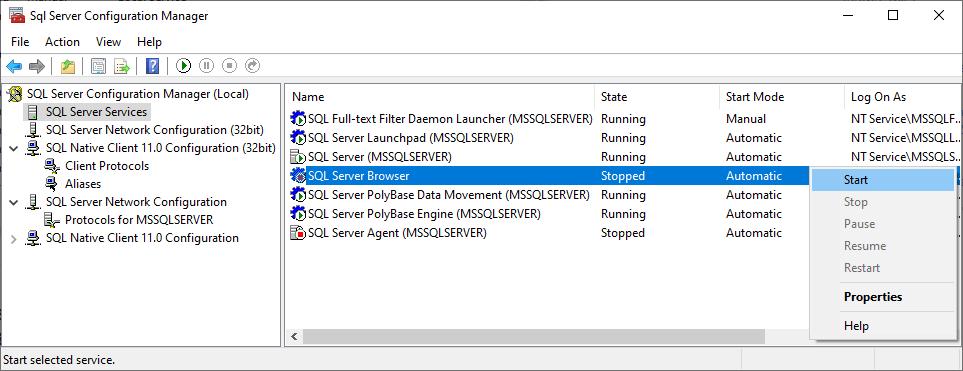 Run the SQL Server Browser