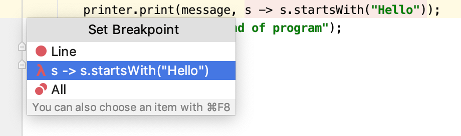 A popup lets you select between a regular line breakpoint and a lambda breakpoint