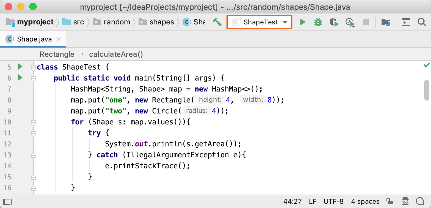 The list of run/debug configurations on the toolbar