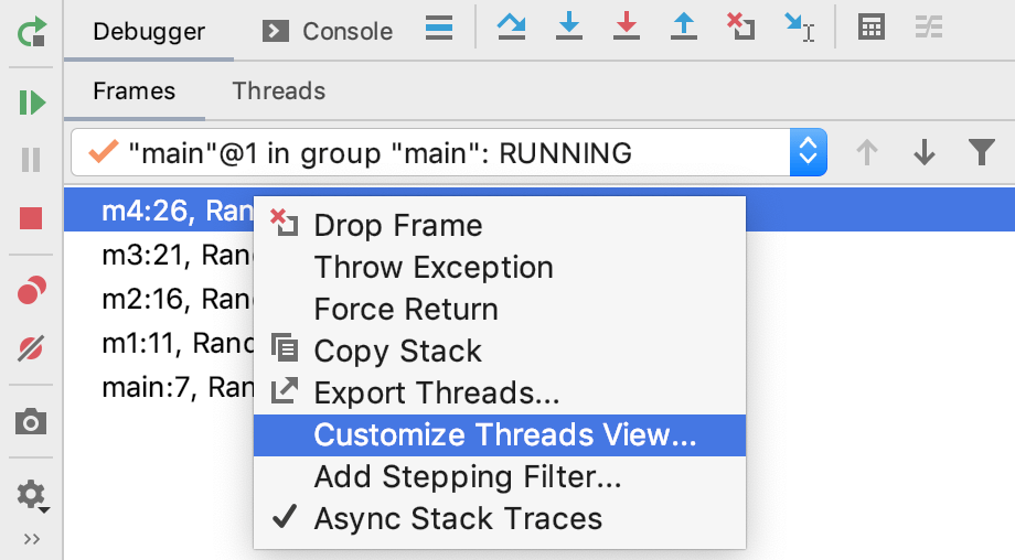Customize Threads View item in the menu