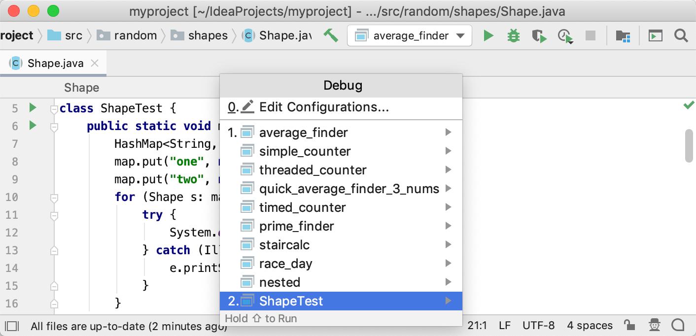 Debug menu lets you select a configuration to debug or edit configurations