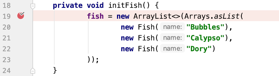 Breakpoint in the initFish method