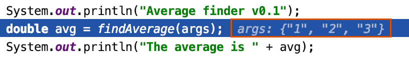 Inline debugging shows variable values right at the line where the respective variables are used