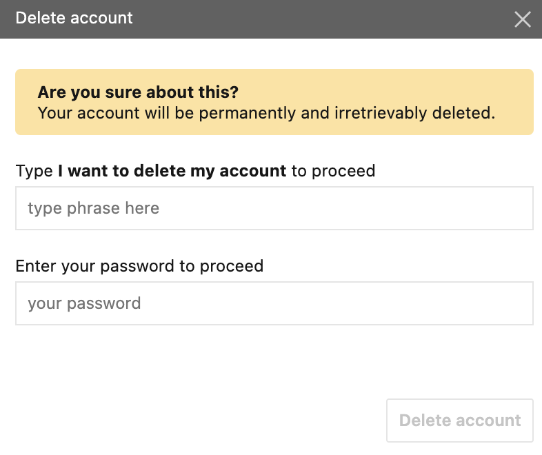 Delete an account with a password