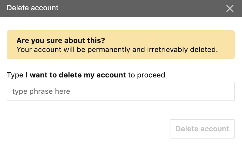 Delete an account without a password