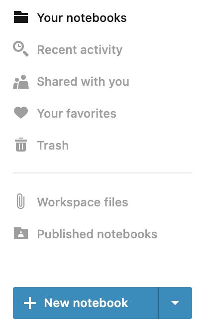 New notebook button