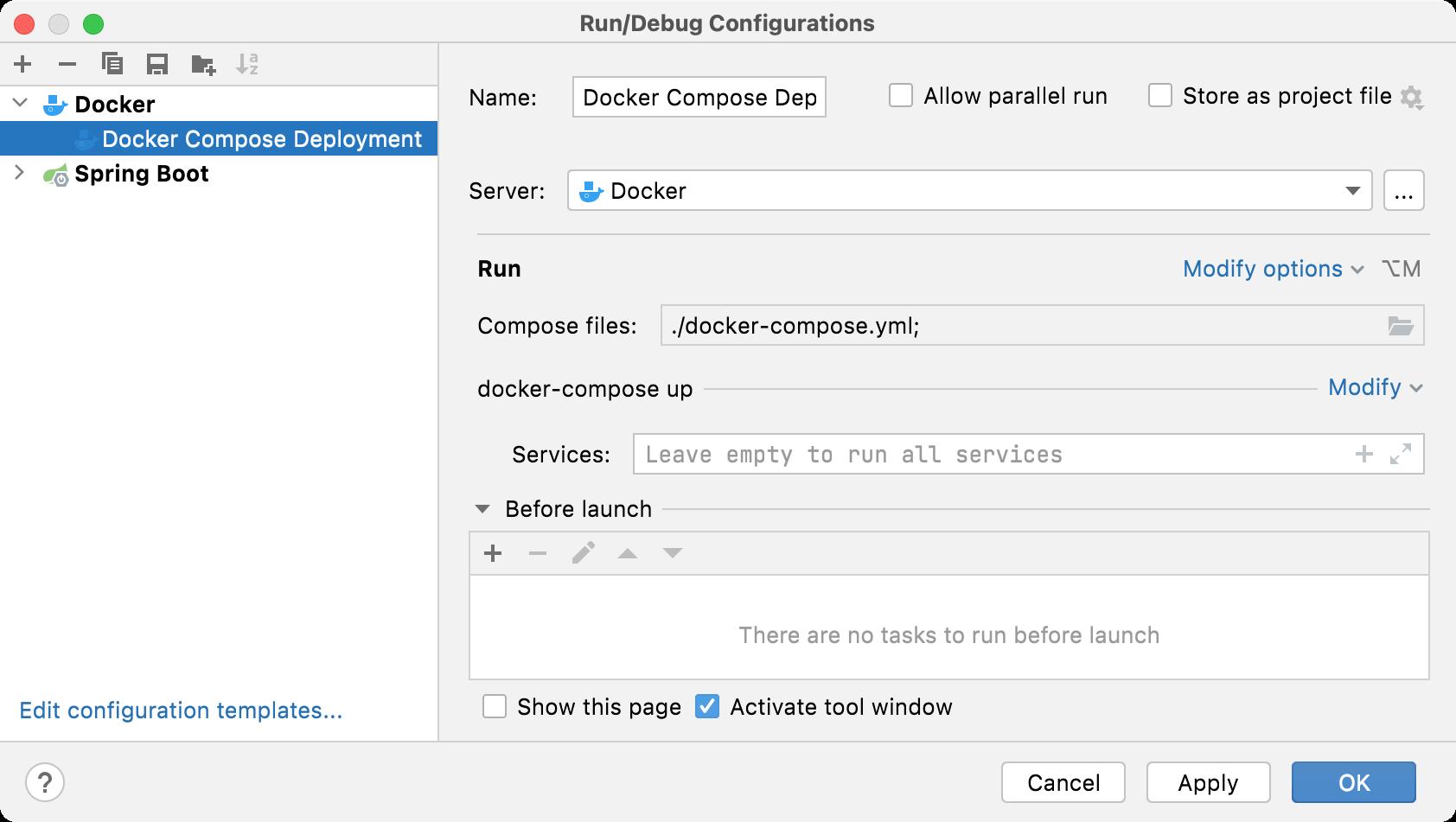 Docker Compose run configuration dialog