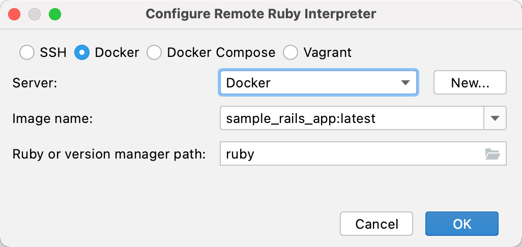 Configure remote Ruby interpreter: Docker