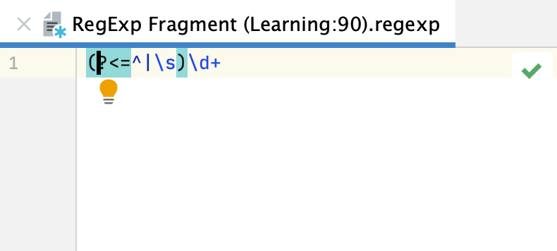 A scratch file with the current regex