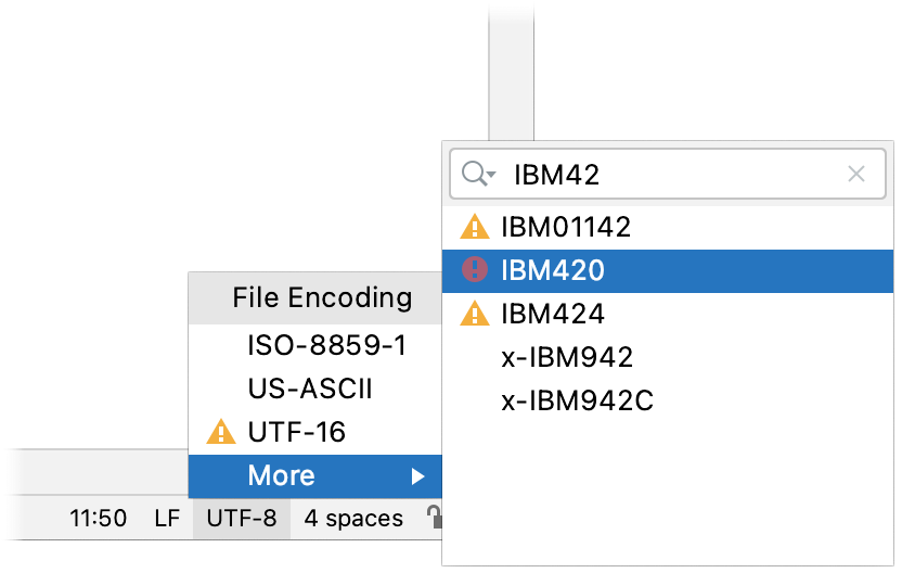 Status bar encoding