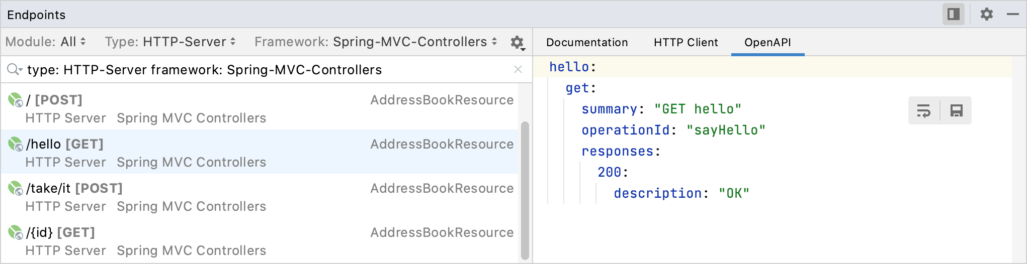 Endpoints tool window: OpenAPI tab