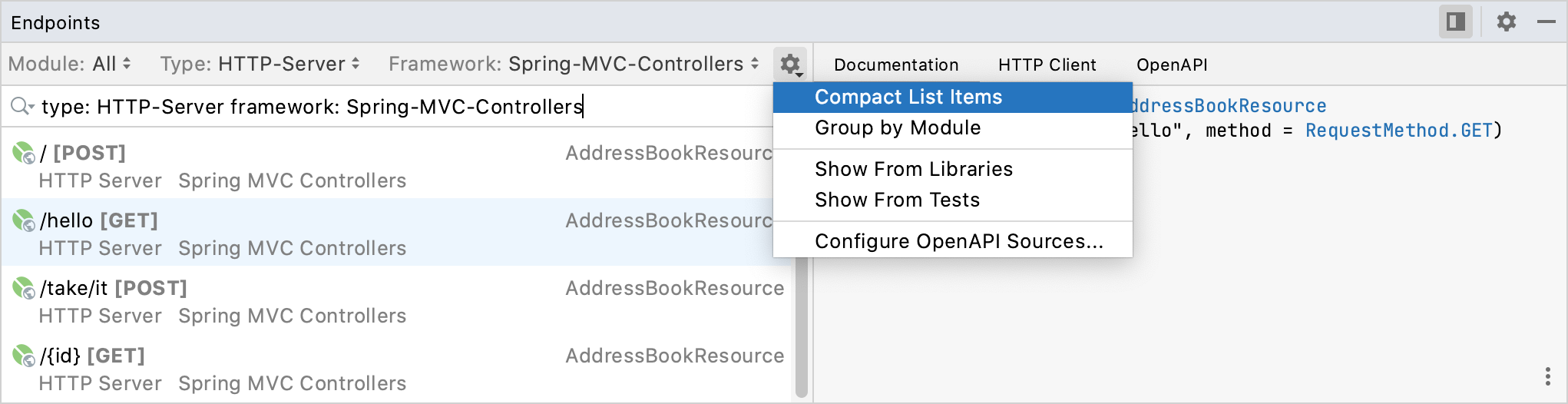 Options of the Endpoints tool window