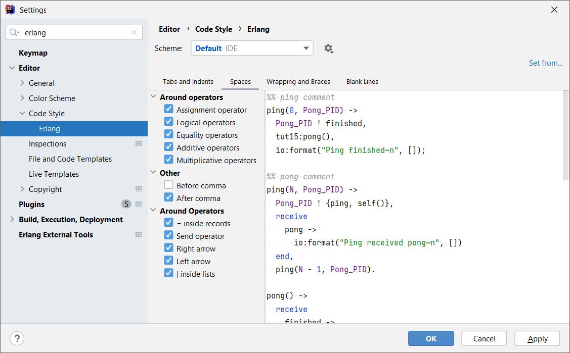 Erlang Code Style Settings