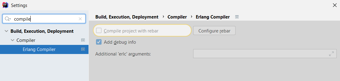 Compile project with Rebar