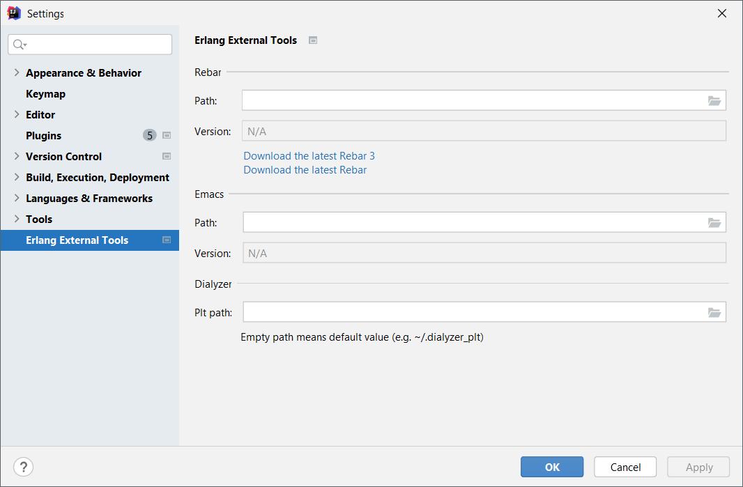 Settings for Erlang External Tools